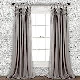 "Lush Decor Window Curtain Panel Pair, Gray, 84"" x 40"""