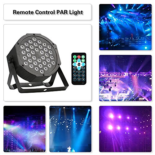 Par LED licht 36LED 36W 7Channel Fernbedienung Mini High Bright PAR-Licht RGB-Wash-Effekt Bühnenlampe Unterstützung DMX512 Ton-Aktivierung für Hochzeit DJ Bar Club -