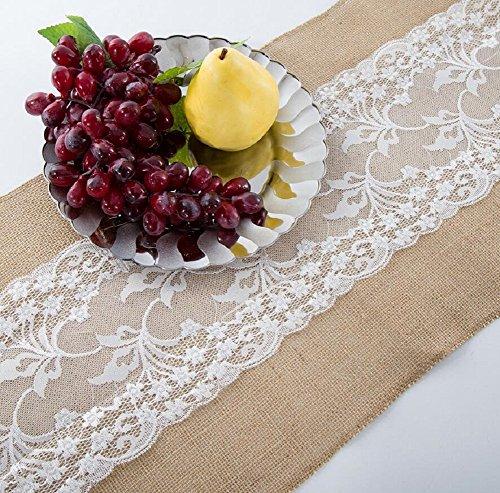 GAOYUHUA GY&H Retro Leinen mittlere Spitze Teemaschine Tischläufer festliche Partei Hochzeit Tischdekoration,coffee,30*220cm