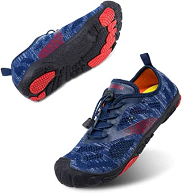 Barefoot Running Shoes Mens Womens Breathable Trail Running Shoes Minimalist Unisex Non-Slip Aqua Shoes Gym Fitness Walking Black Blue Grey Pink Size UK 3-12