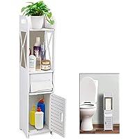 Furn Aspire Toilet Side Cabinet Bathroom Storage Rack Living Room Rack Waterproof Storage Cabinet Wooden Plastic…