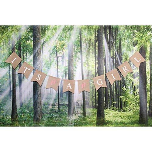 Pixnor È una ragazza della tela di iuta Bunting Banner battesimo Baby Shower ghirlanda decorazione compleanno partito favori