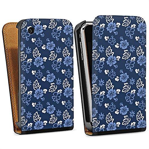 Apple iPhone 5s Housse Étui Protection Coque Fleur Bleu Bleu Sac Downflip noir