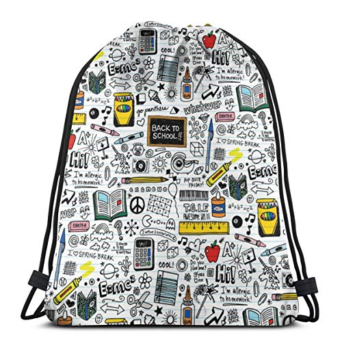 "Doodled School Supplies (Mini) Doodles Graffiti Children Math Science 80s Pen Pencil Drawings Notebook Paper Kids_43316 3D Print Drawstring Backpack Rucksack Shoulder Bags Gym Bag for Adult 16.9""x14\"""