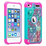 Wydan Apple Ipod Touch 6th, 5th Generation Case - Studded Diamond Rhinestone Bling Hybrid Shock Absorbant Cover - Teal Flower - iPod 6 5 Gen