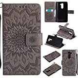For Huawei Honor 6X Case [Gray],Cozy Hut [Wallet Case] Magnetic Flip Book Style Cover Case ,High Quality Classic New design Sunflower Pattern Design Premium PU Leather Folding Wallet Case With [Lanyard Strap] and [Credit Card Slots] Stand Function Folio Protective Holder Perfect Fit For Huawei Honor 6X (5.5 Inch) - gray