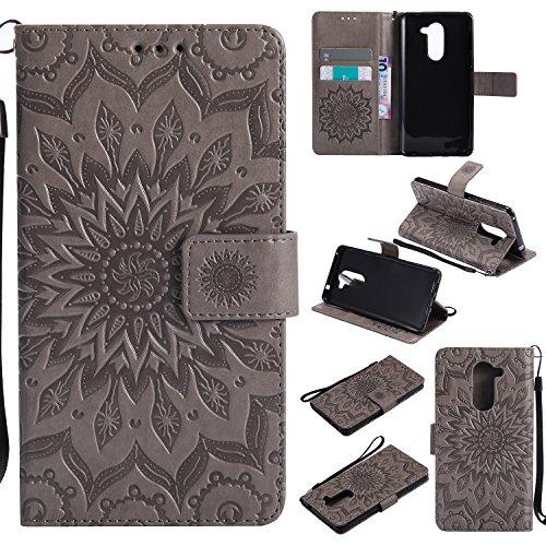 Cozy Hut Huawei Honor 6X Hülle [ Sunflower Muster ] [Premium Leder] [Standfunktion] [Kartenfach] [Magnetverschluss] Schlanke Leder Brieftasche für Huawei Honor 6X - grau Sonnenblume