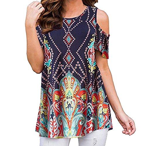 VJGOAL Womens Summer Asymmetrical Hem Irregular Printing Short Sleeve Blouse Loose T-Shirt Tunic Top