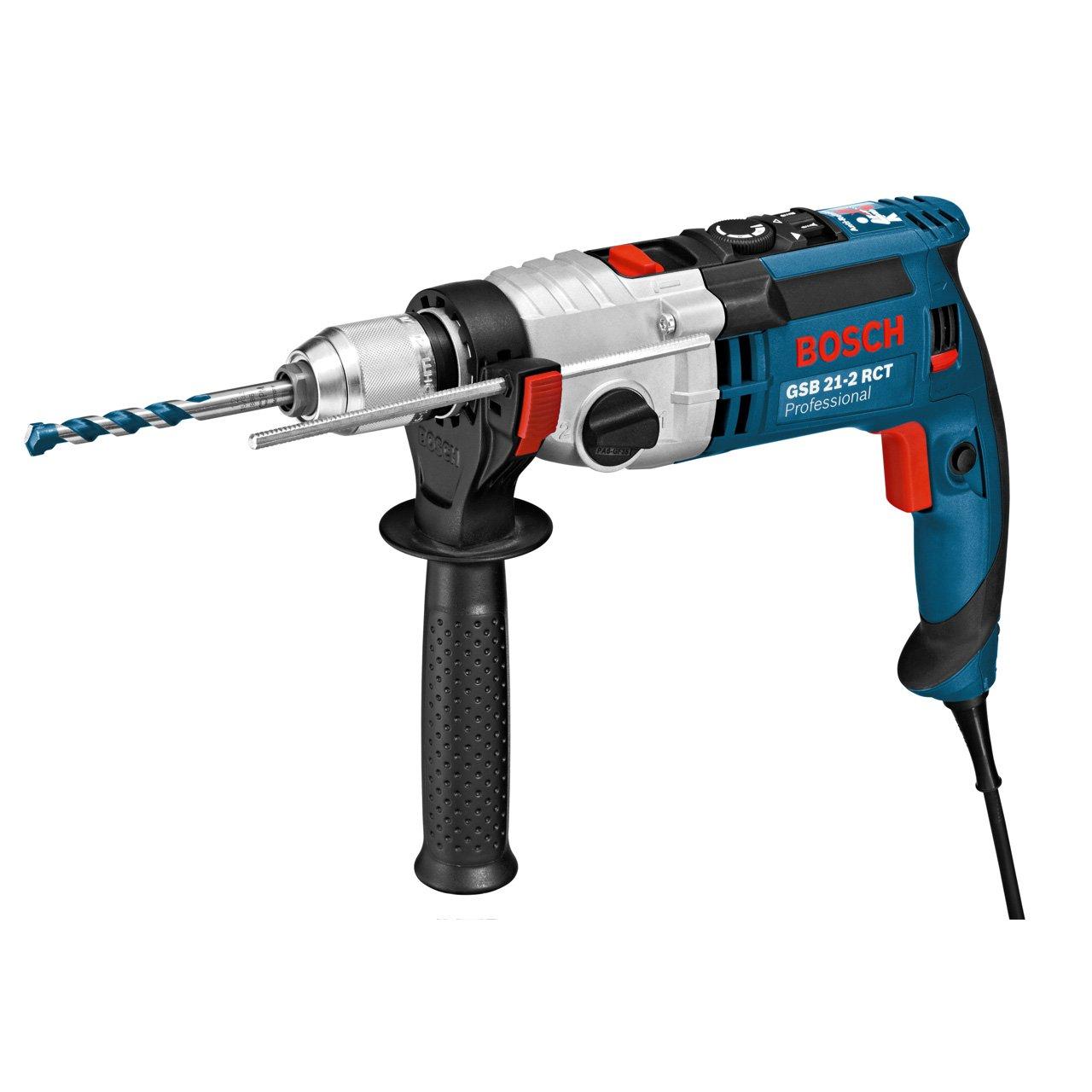 Bosch Professional Schlagbohrmaschine GSB 21-2 RCT (Schnellspannbohrfutter: 13 mm, Tiefenanschlag: 210 mm, Zusatzhandgriff, Koffer, Bohr-Ø in Beton: 13 – 22 mm, 1300 Watt)