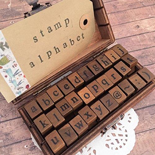 Lower Case Alphabet Stempel-Set, Vintage Schreibmaschinenschrift–Holz Stempel mit Box