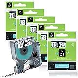 5x Ruban pour Étiqueteuse DYMO D1 45013 12mm x 7m Noir sur Blanc Compatible avec Dymo LabelManager 100 110 120P 150 160 PC2 200 210D 220P 260 260P 280 300 350 350D 360D 400 420P 450 LabelPoint 100