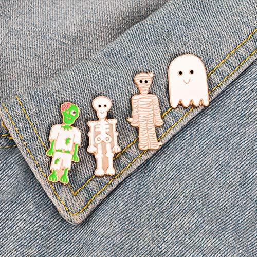MOCRIS Halloween Broschen Legierung Metall Anstecknadeln Kleidung Taschen Rucksäcke Party Kostüm Dekorationen Zombies/Mumien/Ghost/Skeleton (Machen Kostüm Mumie)