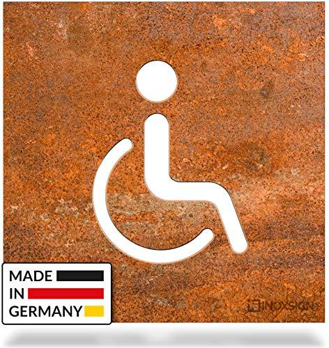 INOXSIGN Vintage WC-Schild Barrierefrei - B06R - Toilettenschild - Selbstklebendes Retro Tür-Schild - Piktogramm Rollstuhlfahrer - Made in Germany