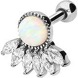 PIERCINGLINE Piercing per orecchio in acciaio chirurgico, 6 cristalli con opale sintetico, gioiello per orecchio, elice, colo