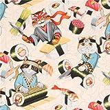 Hellcremefarbener Alexander Henry Stoff bunte Katze Sushi