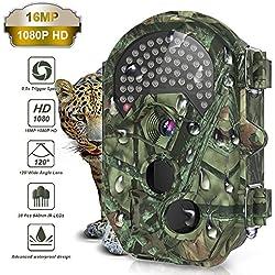 THZY Cámara de seguimiento, Cámara de caza de juego HD 1080P 16MP impermeable con sonido lente de ángulo ancho de 120 °38 piezas 940nm IR LED sin brillo Versión nocturna infrarroja negra 0.5s