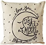 CoolDream I Love You to The Moon and Back Cotton Throw Pillow Case Vintage Cushion Cover 18' x 18'