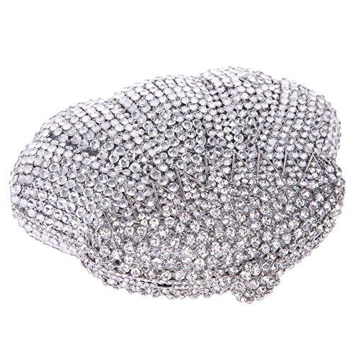 Santimon Clutch Delle Donne Calabash a Forma Strass Diamante Cristallo Borse Da Festa di Nozze Sera Con Tracolla Amovibile 3 Colori argento