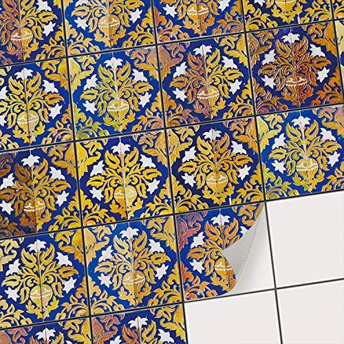 Fliesen Sticker für - [ Boden Fliesen ] - Aufkleber Folie Sticker für Boden-Fliesen - Küche oder Bad | Fliesenaufkleber als Alternative zu Fliesenfarbe | 20x20 cm - Design Golden Twenties