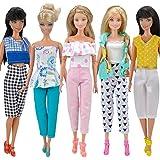 E-TING 5 Ajusta = 5 Ropa Outfit 5 pantalones pantalones para Barbie Doll Estilo aleatoria