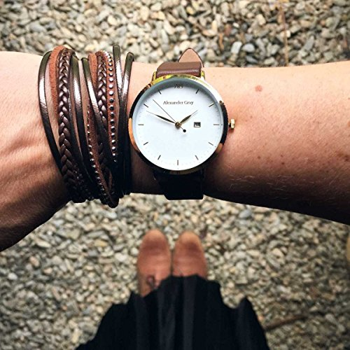Alexander Gray Damenuhr - Vergoldete Armbanduhr Modell VENEZIA mit weichem Lederarmband und ultradünnem Gehäuse – zeitloses Design für jeden Anlass - 5