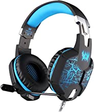 Kotion Each Over the Ear Headsets with Mic & 7 Color RGB LED - G1100 Edition (Black/Blue)