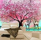 3D Wandbilder Tapete Europäischen Stil Ölgemälde Rosa Big Tree Elch Wohnzimmer Sofa Schlafzimmer Hintergrund Wand Dekor Wandbild, 380X260 Cm (149,61X102,36 In)