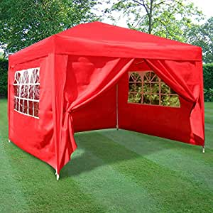 ESC Ltd 3x3mtr Pop Up Waterproof Gazebo in in Red with 2 WindBars and 4 Leg Weight Bags