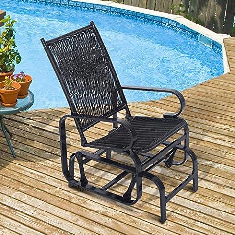 Outsunny Rattan Glider Rocking Chair Single Seater Rocker Seat Garden