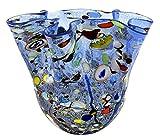 FAZZOLETTO BIG Murano Glas Blattsilber 925 Murrine Vase Dekor Venedig Made Italy