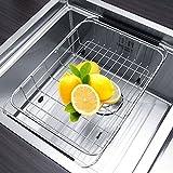 Piatto regolabile Holder Drainer Rack corso Sink, Scolapiatti Cucina da Lavandino per Asciugare Ortofrutticolo, Bicchieri, Argenteria, Ciotole, Piatti