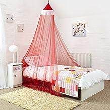 Princesa cama con dosel–Atractivo rojo y blanco mosquitera para cama infantil–rápido y fácil para colgar las niñas dormitorio accesorios–regalo perfecto para las niñas, hijas y Granddaughters