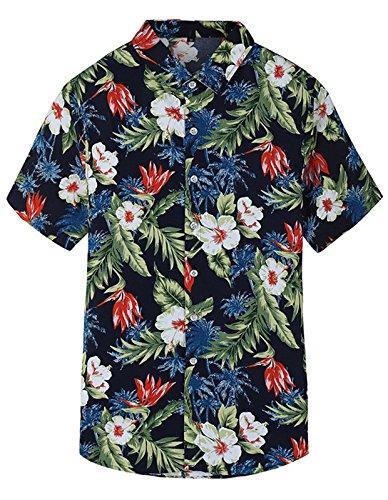 Camisa Hawaiiana Hombre Casual Estampado de Flores Manga Corta para la