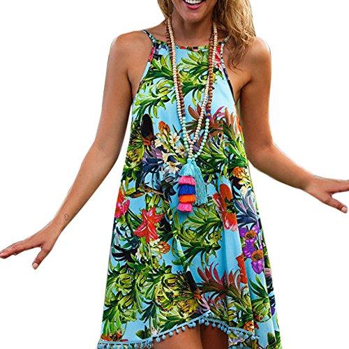 Longra ♣Diseño de la selva Verano de las mujeres impresas sin mangas vestido de playa (L)