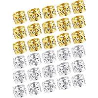 30 Piezas de Abalorios de Dreadlocks Puños de Metal Bloqueos de Dread de Aluminio Joyería de Trenzado Decoración de Pelo, Dorado y Plateado