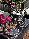 10,5 Liter Champagnerkühler »St. Moritz« mit 43 cm Durchmesser, innen gehämmert, doppelwandig für bessere Isolierleistung (Sektkühler, Flaschenkühler, Weinkühler) - 4