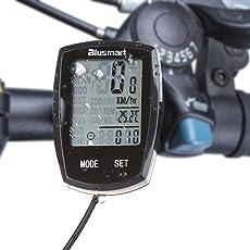 Fahrradcomputer, Blusmart Fahrradtacho wasserdichte Radcomputer automatische Wake-up LCD-Hintergrundbeleuchtung Motion Sensor Temperaturanzeige  14 Funktionen