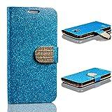 Urcover® Bling Glitzer Kompatibel mit Samsung Galaxy S5 Wallet | Handy Schutz-Hülle in Blau | Kartenfach & Standfunktion | Flip-Cover mit Magnet-Verschluss | Kunststoff Glitzer Case