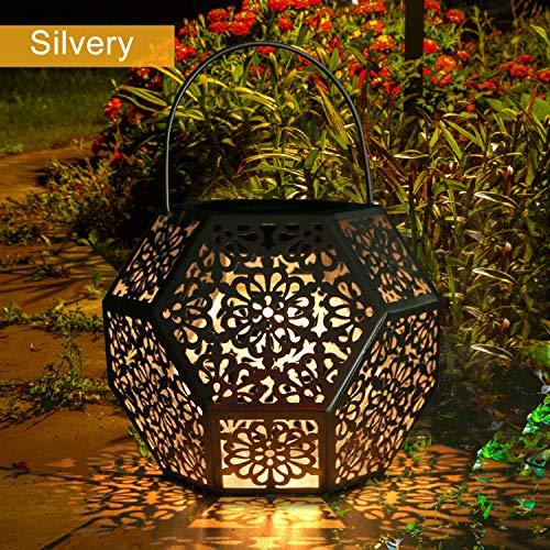 Lanterne Solaire LED Exterieur GolWof Lampe Solaire de Jardin Exterieur Suspendue Étanche Lumière Accrochant Éclairage Décorative Forme de Diamant pour Jardin Patio Pelouse Couloir Allée - Argent