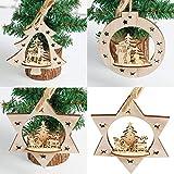 CLOOM Weihnachtsdeko 3PC Weihnachtsanhänger Holz Weihnachtsbaum Anhänger Dekoration Christbaumschmuck Geschenk Weihnachtsfenster-Verzierungen Anhänger Baumschmuck Weihnachten Deko Anhänger (Beige)