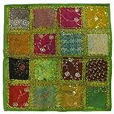 Kissenhülle Patchwork Indien Kissenbezug Überzug Bezug Hülle Sari Stoff 60x60 cm Nr. 11 Grün