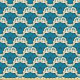 ABAKUHAUS Damasco Tessuto a Metraggio, Ornamento Floreale İn Blu, Decorativo Tessuto in Raso per la Casa Tessili e Mestieri, 5M (160x500cm), Blue Sky Crema Grigio