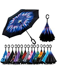Density Collection Double Layer Inverted Umbrella Inside Out Umbrella Cars Reverse Windproof Umbrella ☂ Large Stick Umbrella ☂ with C-Shaped Handle☂☂☂,Multi Design
