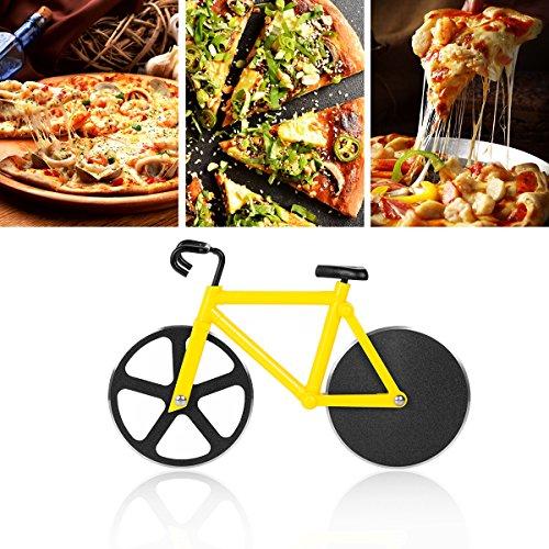 Creativo Cortapizzas Antiadherente Cortador de Pizza de Bicicleta Ruedas con Doble Ruedas de Corte de Acero Inoxidable(Amarillo) -Duomishu