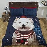 Navidad Perro West Highland Terrier bufanda gorro azul blanco doble (BLANCA LISA Sábana bajera - 137 x 191cm + 25) BLANCA LISA FUNDA ALMOHADA AMA CASA 6 piezas Juego de cama