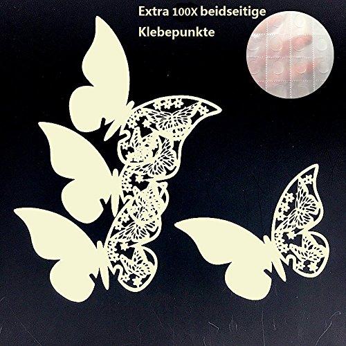 ElecMotive 100 Stück Schmetterling Tischkarten Namenskarten Glasanhänger Wandsticker für Tischdeko Hochzeit Party Haus Deco (Beige)