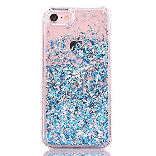 """iPhone 7 Hülle, [Kristallklar Durchsichtig] Handytasche CLTPY iPhone 7 Glanz Sparkle Diamant Sternherz Muster Dynamisch Liquid Hardcase für 4.7"""" Apple iPhone 7 + 1 x Griffel - Blau Blau"""