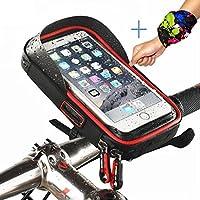 """Support pour vélo avec sacoche et étui de téléphone portable 6"""" avec protection d'écran transparente et tactile.  Taille :  Dimensions de l'étui: 195 x 11 x 6,5cm. Dimension de la poche : 19x 10,5 x 5,5 x cm. Design:  Conçu pour iPhone 7/7 Plus/6/..."""
