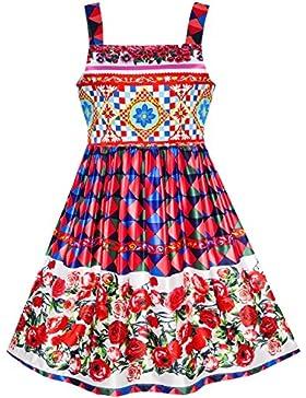 Sunny Fashion Vestido para niña Flor brumoso Rosa Boda Pageant La dama de honor 7-14 años