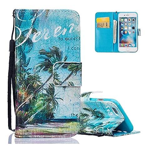 Coque iPhone 5 SE 5S, Aeeque Luxe Couture Désign Housse de Protection en Prime PU Cuir Antichoc Style de Livre Etui avec Sangle de Main Carte Slots - Paysage Tropical Dessin